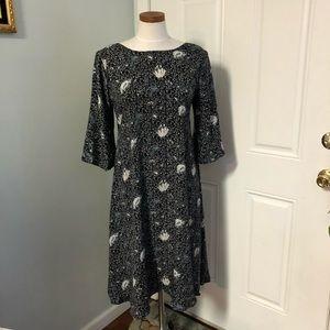 Floral boho hippie vintage black gray dress